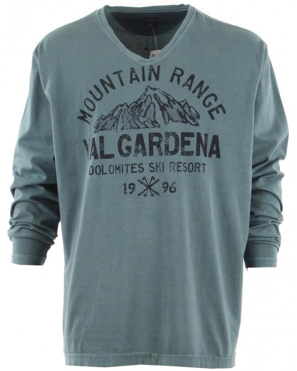 T Shirt manches longues col V imprimé