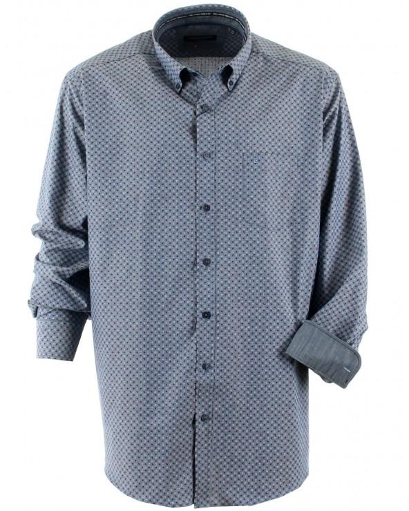 Chemise imprimée gris bleu