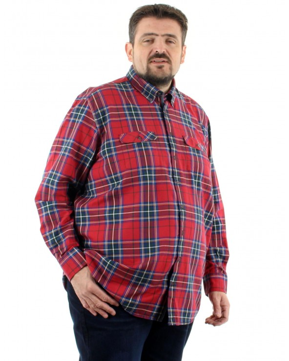 Chemise imprimée écossais rouge