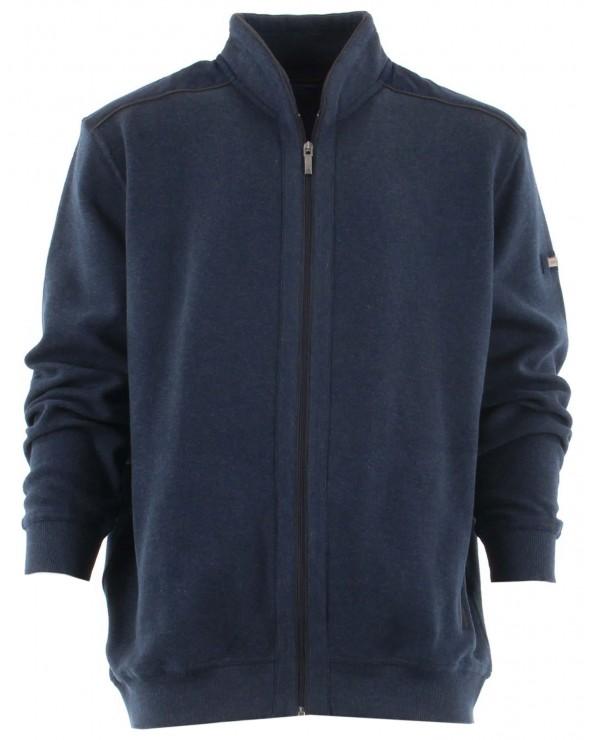 Veste zippé coton, épaules contrastées