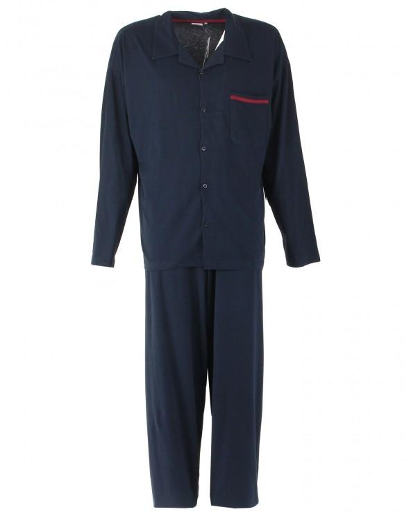 Pyjama boutonné long col V avec poche