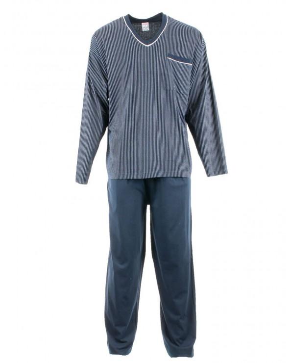 Pyjama long col V avec poche