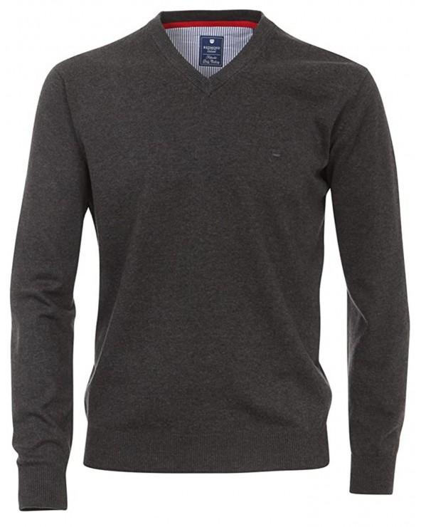 Pullover coton col V