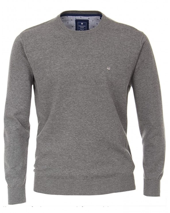 Pull coton chiné, col rond