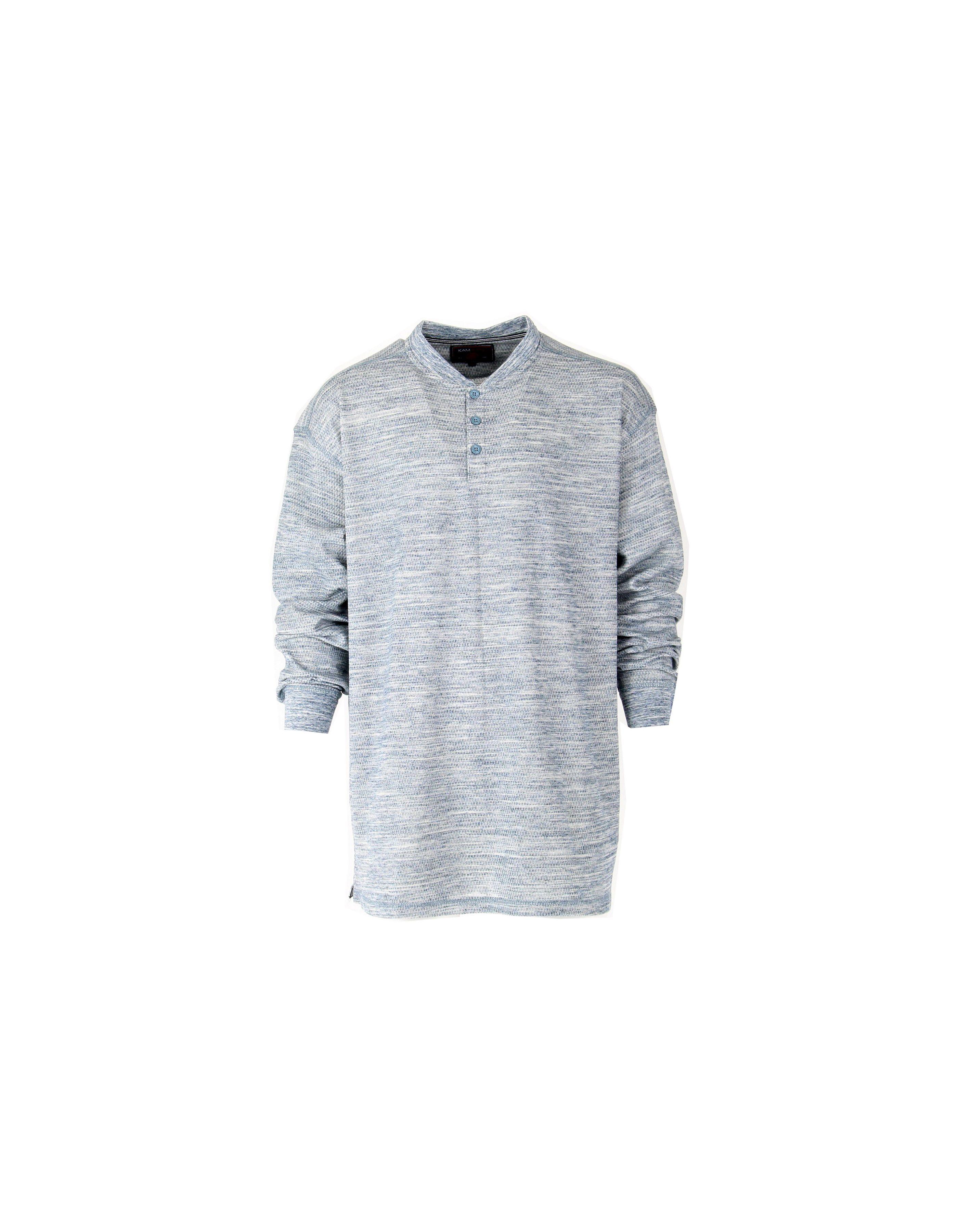 T shirt manches longues chiné col 3 boutons