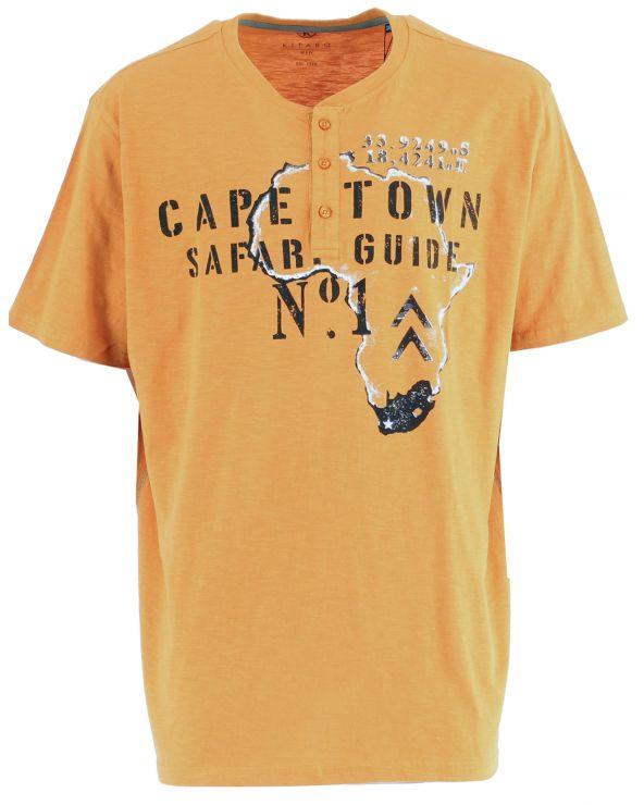 T shirt imprimé col tunisien