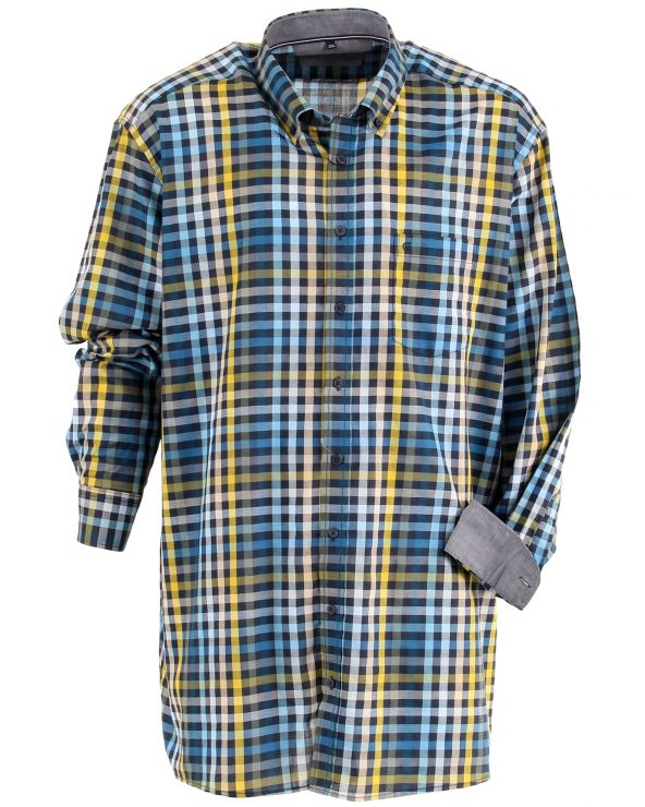 Chemise imprimée carreaux ton bleu
