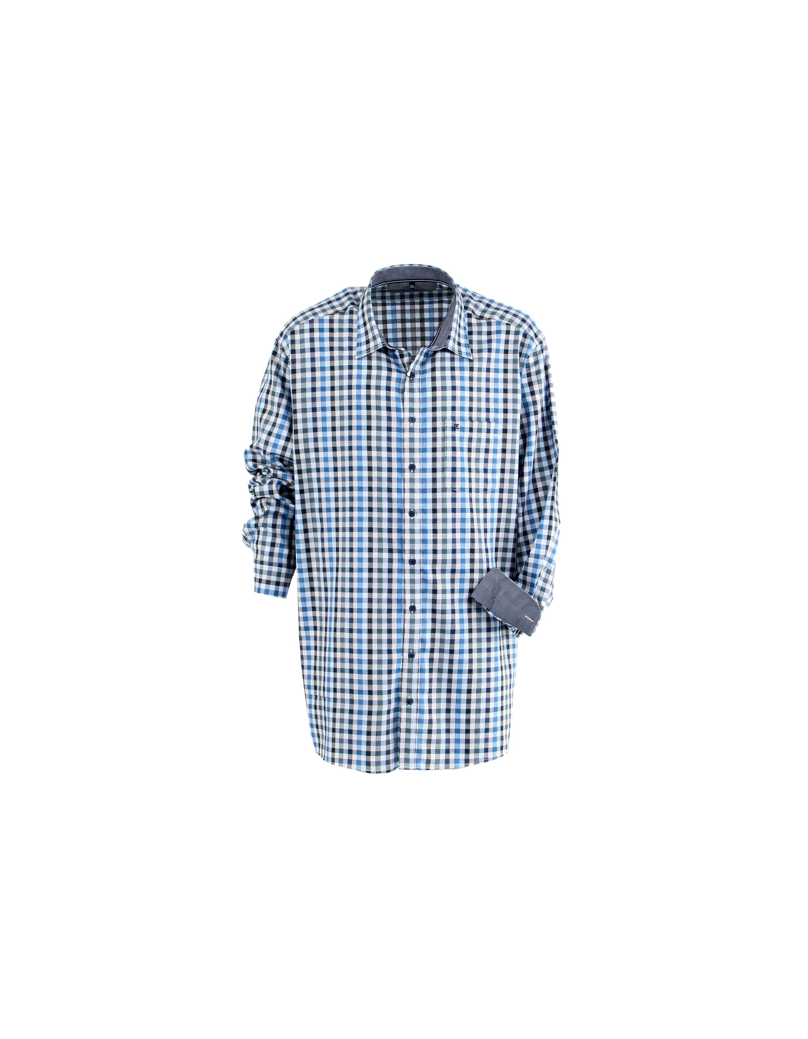 Chemise casual à carreaux bleu/gris