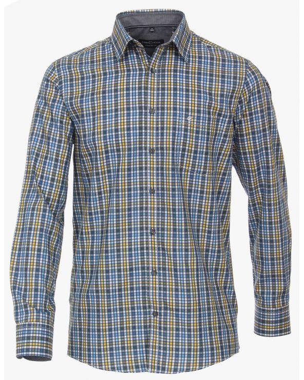 Chemise casual à petits carreaux avec bordure