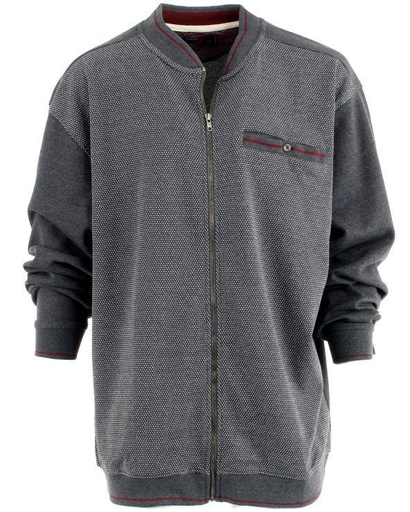 Sweatshirt zippé col montant avec poche
