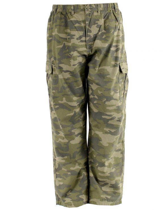 Pantalon cargo taille élastique camouflage