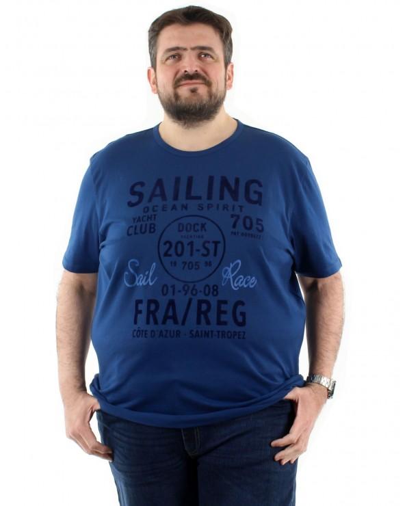 T shirt Sailing bleu marine