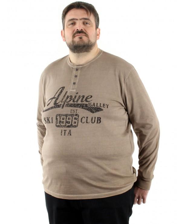 T Shirt manches longues col tunisien imprimé