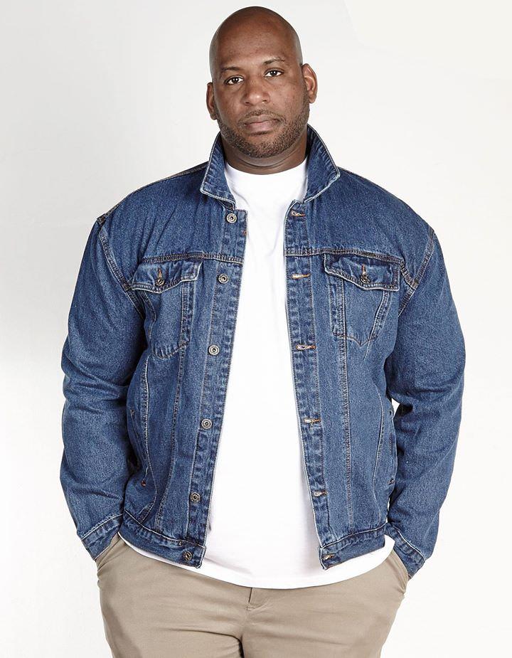 Veste en jean grande taille pour homme en bleu vintage